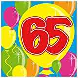 Folat B.V.- Folat 65 Años Globos De Servilletas De Papel-12In/30cm, Multicolor (4610)