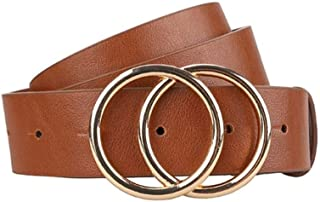 New Belt Women Belts for Women's Jeans Fashion Gold Buckle Waist Leather Strap Designer Strap Belt Very Strong and Durable (Color : Brown, Size : 110CM)