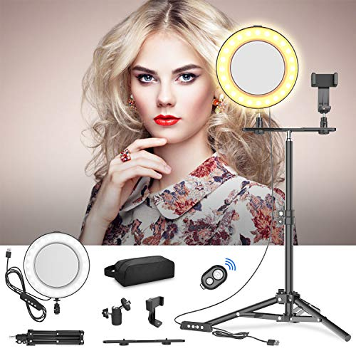 """Selvim 8"""" Selfie Ring Light with Tripod Stand, 3000-6000K LED Ring Light Kit for Live Stream/YouTube Video/Vlogs/Desktop Makeup, Compatible with iOS Android iPhone Google Phone - Black"""