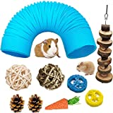 Hamster Fun Tunnel Pet Mouse Plastic Tube Toys Small Animal Foldable Exercising Training Hideout Tunnels with Cute pet Toys for Guinea Pigs,Gerbils,Rats,Mice,Ferrets and Other Small Animals (Blue)
