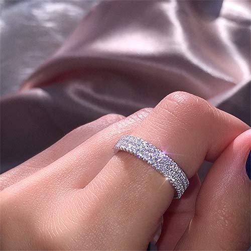 925 Sterling Silver Shiny Full Diamond Ring Three Rows Cubic Zirconia Rings CZ Diamond Multi Row Ring Eternity Engagement Wedding Band Ring for Women TZ.8 (US Code 8)