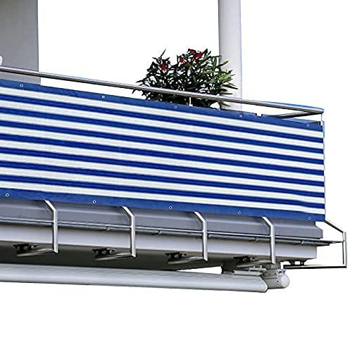 HMGDFUE Malla Protectora Balcon, 2.95ft x 16.40ft Pantalla para Balcon Jardín Protección de Privacidad PES Resistente a los Rayos UV Protección contra el Viento, con Ataduras de Cables 90 * 500cm