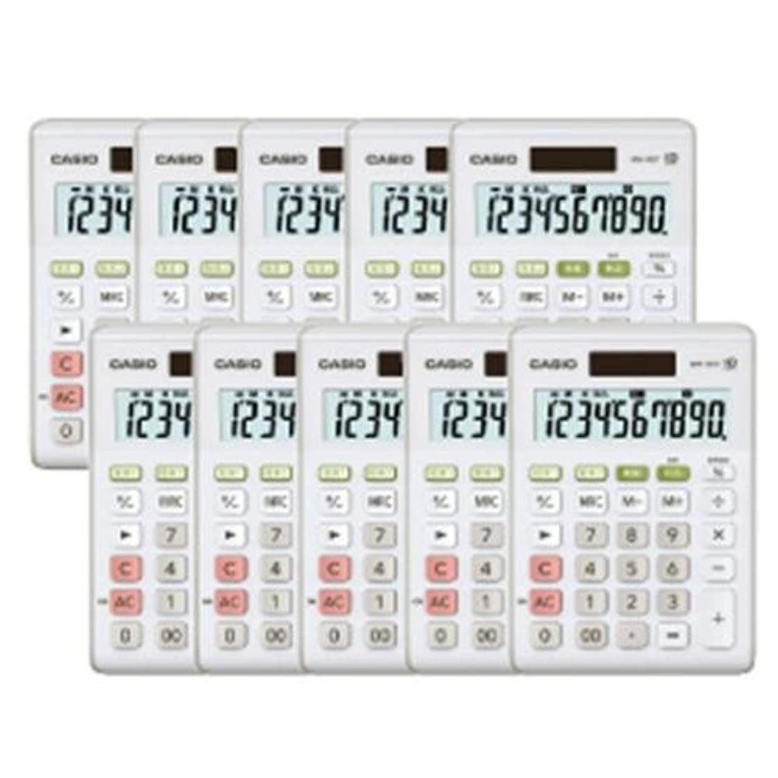 シンボル花弁排除する電卓MW‐100T-WE-N(10個入) 155-555