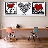 EUpMB Pittura a Olio Astratta su Tela Poster e Stampe Immagini su pareti per Soggiorno, Arte Astratta dei Graffiti di Keith Haring Peace Love Street Art He 40x120cm Senza Cornice L499