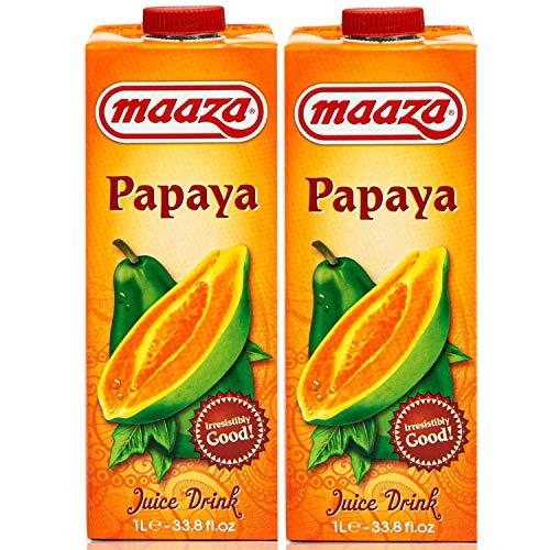 Maaza - 2er Pack Premium Papaya Drink Saft in 1 Liter Packung - Original Papayasaft Juice