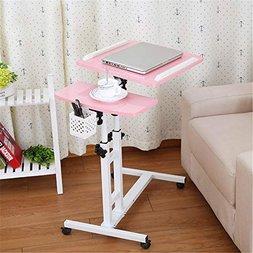 ZhuFengshop Folding Laptop Table Computer Table Portable Laptop Stand Rotate Bed Side Table Standing Desk Adjustable Height Furniture (Color : Pink)