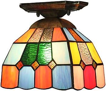 Plafón Tiffany - Lámpara de techo multicolor de cristal, lámpara barroca, estilo mediterráneo, para pasillo, balcón, cocina, dormitorio, entrada, colores E27 Ø 19 x 18 cm