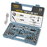 Hi-Spec 39 Piece Metric Tap and Die Set. Tapered & Plug Hand Tapping, Cutting, Threading, Forming & Chasing Tool Kit for DIY, The Garage & Workshop