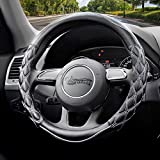 Valleycomfy Steering Wheel Cover Pu Leather Universal 15 Inches, Pathwork Pattern, Breathable, Anti-Slip, Odorless (Black with white line)