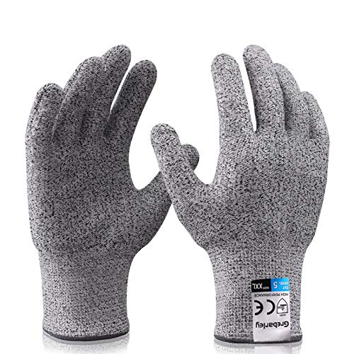 Grebarley Schnittschutzhandschuhe,Arbeitshandschuhe,Küchen Handschuhe,Level 5 Schutz,Lebensmittelecht,EN388 Zertifiziert,Gestrickt Handschuhe für Gartenbau/Baustelle/Küche (M, 1Paar)