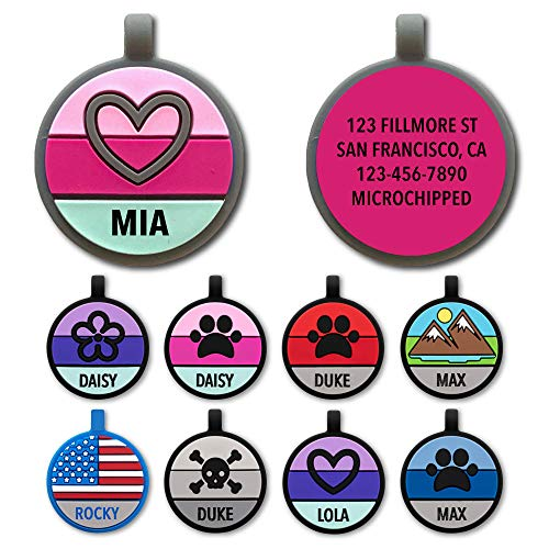 Love Your Pets Soundless Pet Tag - Designer Deep Engraved Silicone – Double Sided and Engraving Will Last - Pet ID Tags, Dog Tags, Cat Tags (Hot Pink Grey, Heart)
