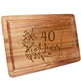 HomeLove Inc. 40th Birthday 40 Years Anniversary Ideas Engraved Wood Cutting Board Gifts for Women, Her, Mom, Dad, Husband, Wife, Friend, Cook Lover, chef