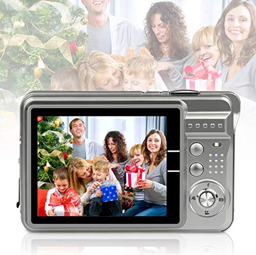 Cámara Digital 18 megapíxeles 2.7 LCD Cámara Digital HD Recargable Cámara de Video Digital para Estudiantes, niños, Adultos (Plateado)
