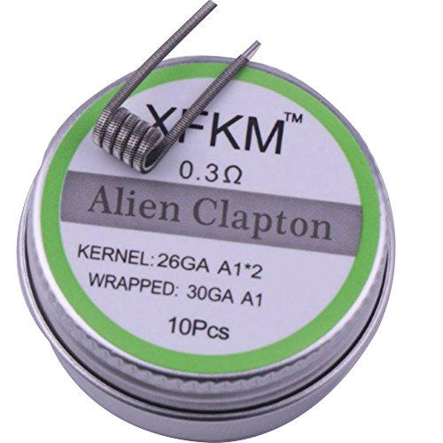 Yeleo Trosetry Coil, Alien Clapton Hive Tiger Twisted Fused Clapton Heizdraht Mixed Twisted SS316L Wire Coils für Elektrische Zigaretten E Zigarette Draht (0.3Ohm, alien Clapton)