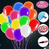 Sporgo LED Luftballon, 50 Stücke LED Leuchtende Luftballons 8 Farben Bunt LED Luftballons Blinkendes Licht für Hochzeit Party Geburtstag Weihnachten Dekoration mit Bunte Ballons mit Farbigem Band