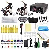 Audersigt Kit completo de tatuajes, 2 pistolas, 20 agujas de tatuaje, 20 puntas de tatuaje, 7 tintas de color, fuente de alimentación para principiantes.