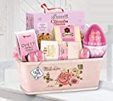 """Cesto di Pasqua Pasquale """"Rosa bel giardino"""" idea regalo, Colomba Uovo di Cioccolato Ovetti"""