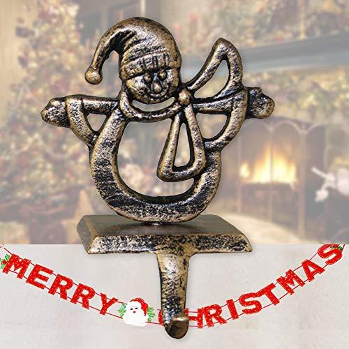Enjoygoeu Decorazione Natalizia Calza di Natale Supporto per Camino Vintage Decorazioni in Metallo Supporto Albero di Natale Cervo Pupazzo di Neve Sata Fiocco di Neve Decorazione Natalizia