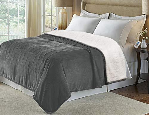 Marquess Heated Blanket Throw,Flannel Sherpa Washable and Comfortable Electric Blanket with 4 Settings, Safety 10 Hours Auto-Off &Dual Temperature Dual Control by One Blanket(King, Grey)