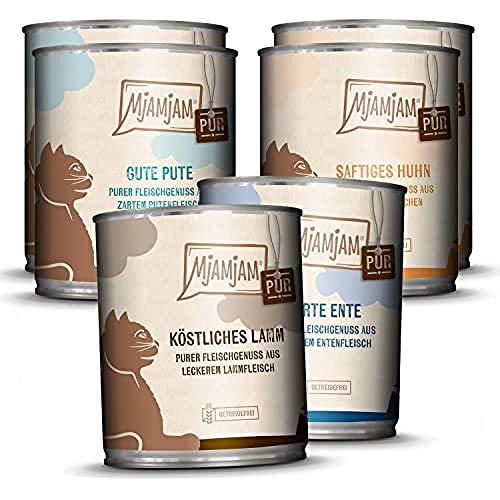 MjAMjAM - Premium Nassfutter für Katzen - Mixpaket 5 - Purer Fleischgenuss, (6 x 800 g), getreidefrei mit extra viel Fleisch, 1108M7