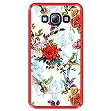 Hapdey Funda Roja para [ Samsung Galaxy A5 2015 ] diseño [ Patrón Floral con pájaros ] Carcasa Silicona Flexible TPU