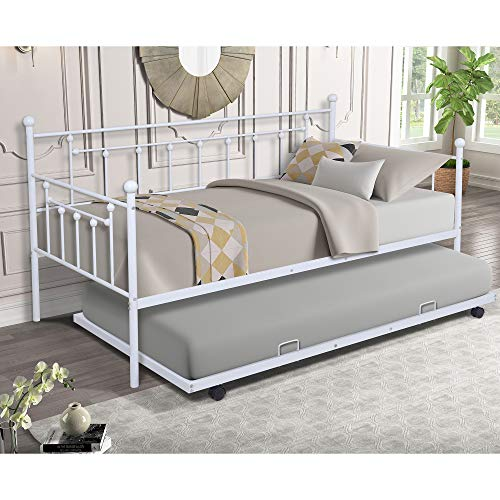 Twin Daybed with Pop Up Trundle, White Grey Metal Daybed Frame Set with a Trundle