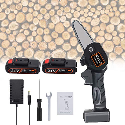 N/Q Mini Chainsaw 4Inch Cordless Electric Chainsaw with Rechargeable Battery Portable Handheld Electric Saw for Tree Branch Wood Cutter 24V ChainsawBattery