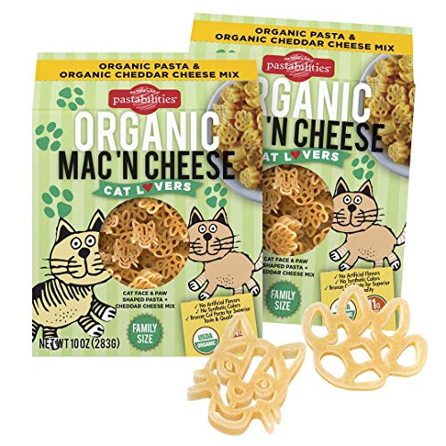 Pastabilities Organic Cat Lovers Shaped Mac and Cheese, Fun Pasta Noodles for Kids, Women, and Gifts with Cheddar Cheese Powder, Non-GMO Wheat Pasta (10 oz, 2 Pack)