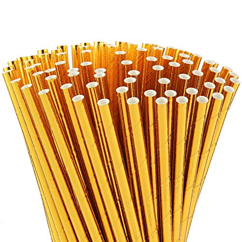 ALINK Gold Foil Paper Straws, Biodegradable Disposable Party Drinking Straws, Pack of 100