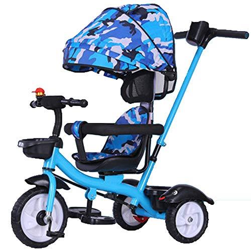 YumEIGE driewieler driewieler voor kinderen Titanium Empty Wheel 1-5Years oud geschenk voor kinderen Toddler Trike met verstelbare tent Putter Load Load 50 kg (Boy/Girl)