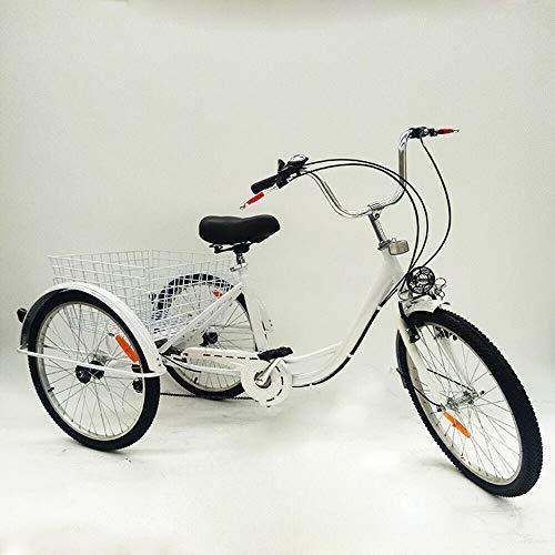Kaibrite Bicicleta de 3 ruedas para adultos de 24 pulgadas, color blanco, 6 velocidades, con cesta y lámpara
