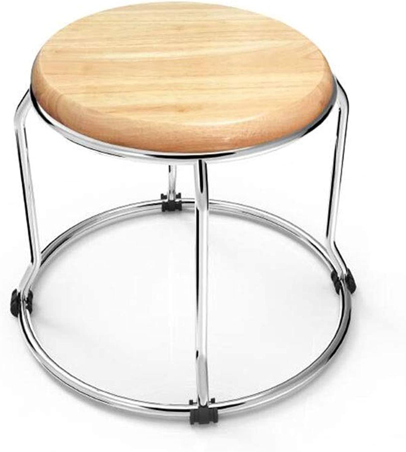 YCSD Stool Fashion Simple Modern Home Solid Wood Round Stool Dining Chair Table Stool Stackable Chairs Environmental Predection Lightweight furniture (Size   H28cm)