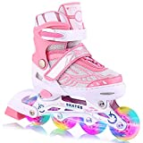 WeSkate Pattini in Linea per Bambini con Ruote Luminose Pattini Comodi in Mesh...