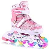WeSkate Patines en Línea para Niños con Ruedas Luminosas Inline Skates/Rollerblade de Malla Transpirable para Niñas y Niños Tamaño 31-42(Rosa, Azul)
