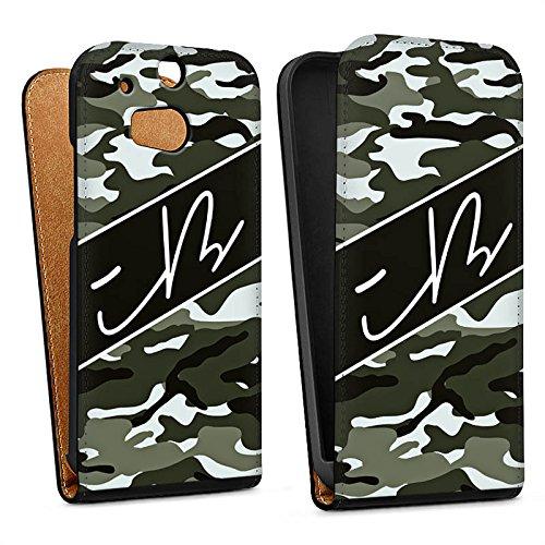 DeinDesign Tasche kompatibel mit HTC One M8 Flip Hülle Hülle Schwarz iBlali Camouflage YouTube