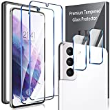 4 Pack LK Compatible with Samsung Galaxy S21 Plus -2 Pack Screen Protector + 2 Pack Camera Lens Protector, Work with Fingerprint Reader, Alignment Frame Easy Installation 9H Hardness Tempered Glass