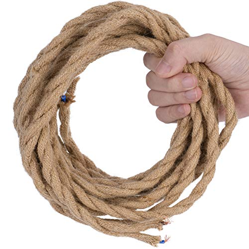 DiCUNO 5 Metri di cavo tessile in lino vintage, Cavo elettrico in tessuto flessibile a 2 conduttori da 0,75 mm² retrò, Corda intrecciata industriale per appendere e progetto fai-da-te