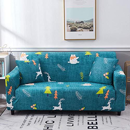 NLADTWLSD Funda de sofá de Alta Elasticidad, impresión Fundas para Sofa Antideslizante Cubierta para Sofa Protector para Sofás Lavable para el Salón (3 Asiento,Azul Verde)
