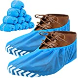 RE GOODS Premium Shoe Covers (100 Pack) - One Size Fits All, X Large, Extra Thick, Non Slip Disposable Booties For Boots and Shoes, Water Resistant, Indoor and Outdoor Use