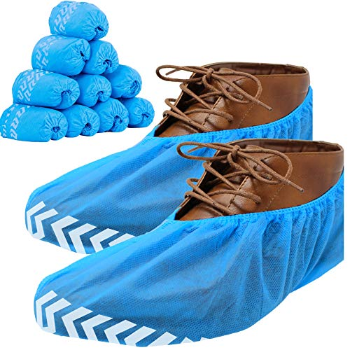 RE GOODS Shoe Covers | X Large - Extra Thick | 100 Pack | Non Skid Soles | Disposable Boot and Shoe Booties | 35 GSM Non Woven | Non Slip - Indoor/Outdoor