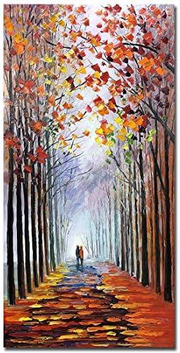 V inspire Art 24X48 inch modern Impressionist landscape art romantic forest autumn decoration product image