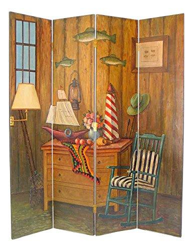 Wayborn Home Furnishing Fisherman 4 Panel Distressed Room Divider, 72', White