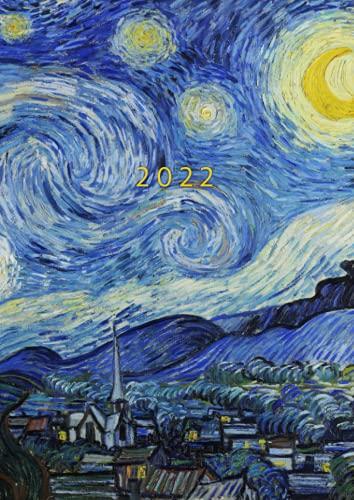2022: Agenda Settimanale Con Orari 5:00 - 23:00 | Vista Verticale | 1 Settimana Su 2 Pagine | 12 Mesi Planner Intempo| Formato A4 | Diario Caledario ... Agenda Giornaliera | Van Gogh Notte stellata
