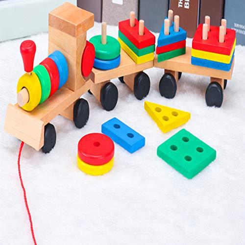 Niños pequeños que ensamblan bloques de construcción juguetes niños y niñas bebés educación temprana rompecabezas forma básico de madera