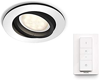 Philips Hue White Ambience Milliskin Recessed LED Smart Spotlight, Ceiling Light [GU10] with Dimmer Switch, Aluminium, Wor...