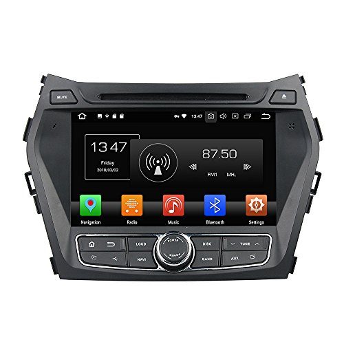 KUNFINE Android 9.0 Otca Core 4GB RAM Car DVD GPS Navigation Multimedia Player Car Stereo for Hyundai IX45 / Santa Fe 2013-2014 Steering Wheel Control 3G WiFi Bluetooth Free Map Update 8 Inch