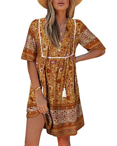 Kidsform Damen Kleider Tshirt Kleid Kurzarm Tunika Boho Blumen Sommerkleid für Damen V-Ausschnitt Minikleid Shirt Lose S-Gelb S