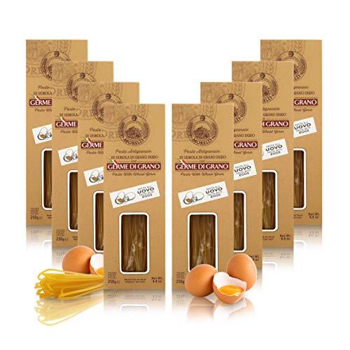 Antico Pastificio Morelli 1860 Srl Tagliolini All'Uovo in Astuccio, Pasta All'Uovo con Germe di Grano, 8 Confezioni da 250 Grammi