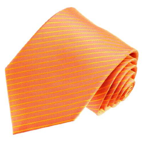 Lorenzo Cana - Marken Krawatte aus 100% Seide gestreift Lachs Hummer Orange Apricot - 84549