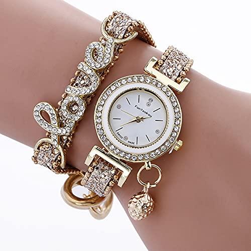 Shmtfa Love Letters Relojes De Mujer Moda Reloj Pulsera Cuarzo AnalóGico con Reloj Cadena Diamantes CronóGrafo No Resistente Al Agua para NiñA DecoracióN MuñE(Dorado)
